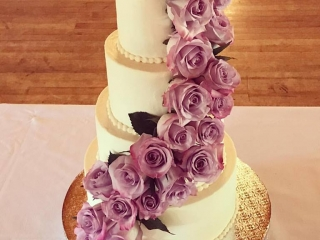 Four Tier Lemon Wedding Cake with Roses (Gluten-Free)