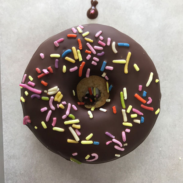 CHOCOLATE GLAZED VANILLA CAKE DONUT WITH SPRINKLES